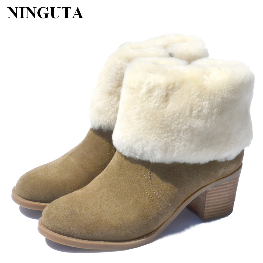 NINGUTA suede ankle boots for women winter heel shoes woman