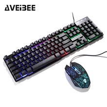 лучшая цена AVEIBEE Gaming Keyboard Mechanical Keyboard RGB Backlit USB Mouse And Keyboard Set For Computer Gamer Ergonomic