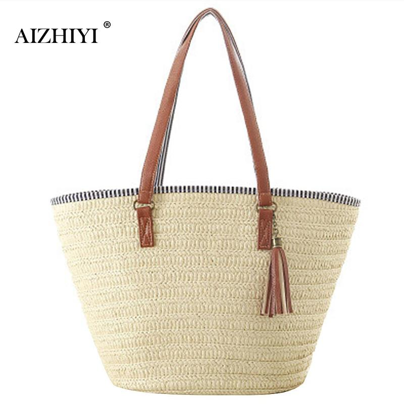 Women Simple Straw Handbag Shoulder Bag Tassels Tote Summer Beach Zipper Shopping Crossbody Fashion Travel Messenger Bag 3 Style
