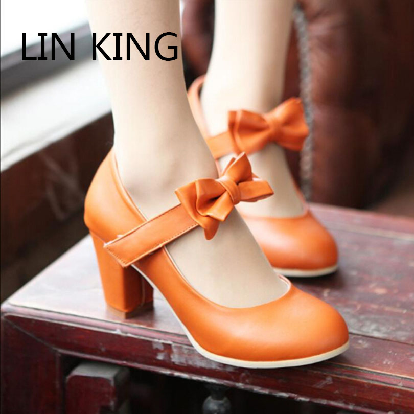 LIN KING Plus Size 34-43 Women Lolita Princess Bow Thick Heel Pumps Cosplay Lourie Shoes Sweet Lady High Heel Round Toe Shoes eur 34 44 angelic imprint zapatos mujer lolita cosplay punk pumps high boots princess sweet girl s pumps black women s shoes