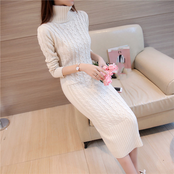 Women Winter Knit Dresses 2019 Europe Long Sleeve Turtleneck Casual Slim Warm Maxi Sweater Dress Plus Size Women's Clothing L-66 2