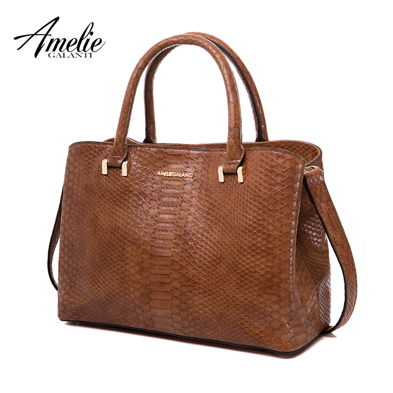 AMELIE GALANTI 2018 Autumn and Winter Handbag Woman Hard Serpentine Medium size Advanced fabrics PU Versatile Fashion high-grade ...