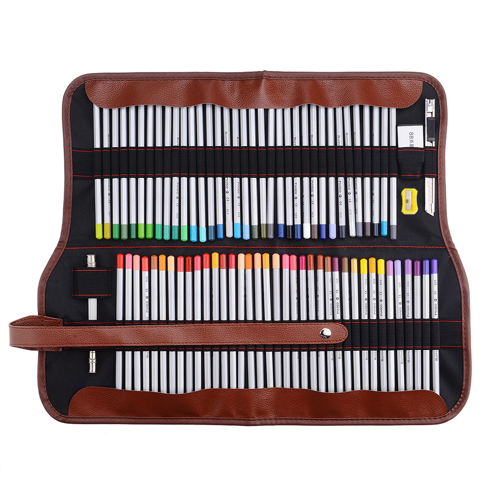 Marco Raffine Fine Art Colored Pencils 48/72-Color+Rubber Eraser Set+Roll UP Washable Canvas Pencil Bag Easy Carrying