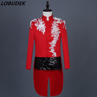 Tide Fashion Chinese Style Men's Stand Collar Embroidery Swallowtail Wedding Tailcoat Male Singer Chorus Host Stage Costume Coat