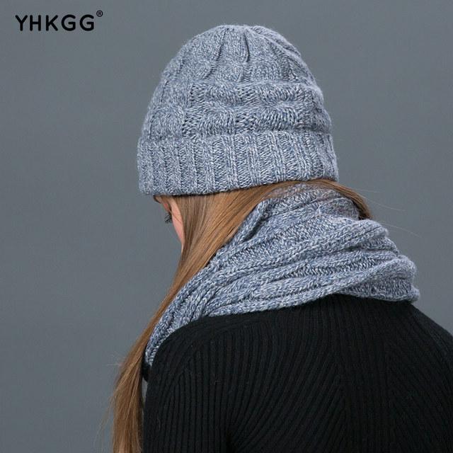YHKGG Set Winter Hats Scarf Gloves For Women Thick Cotton Winter warm knit  Accessories Set Female Beanie Scarf Gloves