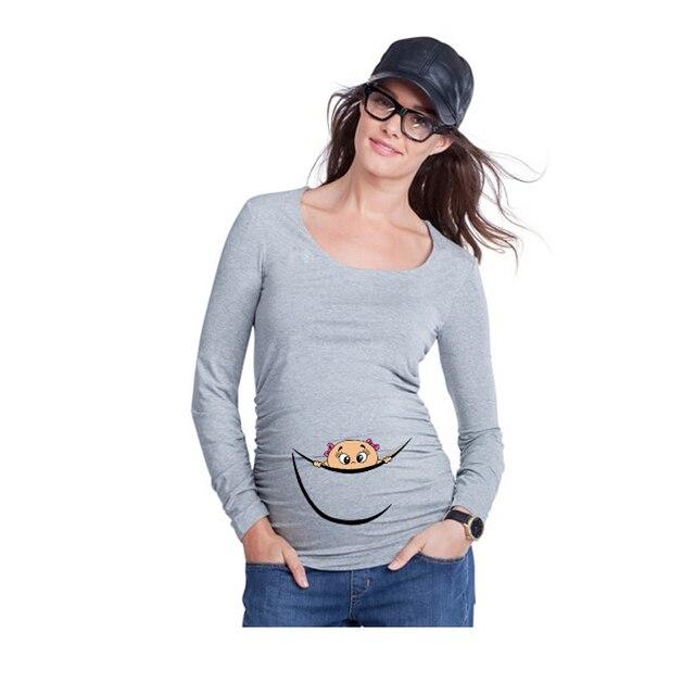 Новый ребенка peeking тенниску смешной топы с длинным рукавом беременных футболки с ребенком выглянуло peek-a-boo беременность тис топ