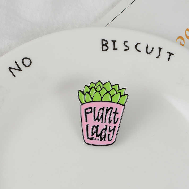 Succulent Tanaman Enamel Bros Kartun Pink Tombol Pins untuk Tas Pakaian Lencana Tanaman Perhiasan Hadiah untuk Teman-teman Anak-anak