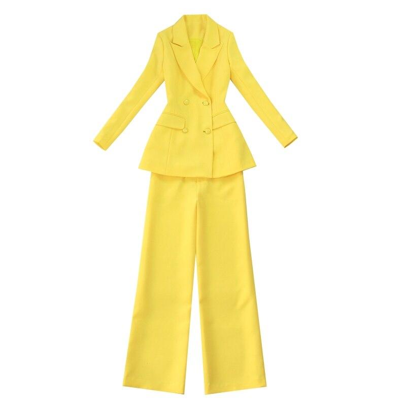 Professional Set Women Pant Suits 2019 Autumn Temperament Fashion Office Lady Long Sleeve Blazer With Pants Plus Size Work Wear
