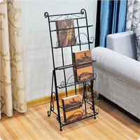 3 Pocket Metal Iron Folding Magazine Rack Stand Display Literature Rack Newspaper Rack Book Shelf Poster