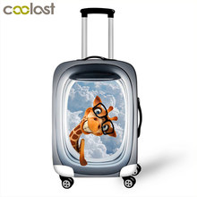 Cute Animal Owl / Dog / Horse / Giraffe Luggage Protective Covers Elastic Suitcase Cover Anti-Dust Cover For 18 to 28 Inch(China)