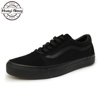 New Men S Fashion Black Canvas Casual Shoes High Quality Black Bottom Flats Breathable Walking Lace