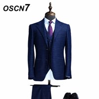 OSCN7 Мода Печатных Настроить костюмы для Для мужчин 3 шт. Свадебные Бизнес вечерние Для мужчин s индивидуальные костюм Terno Masculino ZM 503