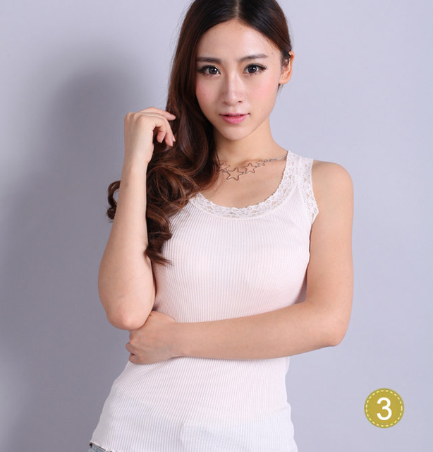 new spring and summer 100% silk knitted silk Lace folder vest basic vest excellent elasticity