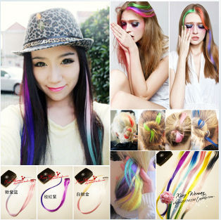 20'' long mixed colorful synthetic gradient  Ombre Style rainbow Synthetic clip on Hair Extension