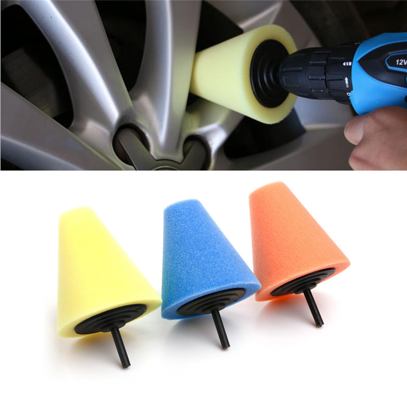 Burnishing Foam Sponge Polishing Cone Ball Buffing Pad Car Wheel Hub Tool Kit