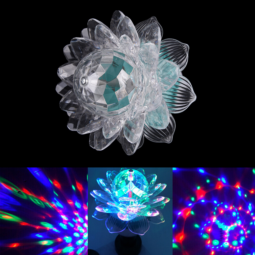 1pcs Actived Auto RGB Crystal Lotus Led Stage Light Colorful DJ Party Disco Effect Bulb Lamp Home Party DJ Lighting Decoration