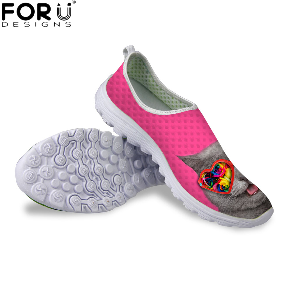 FORUDESIGNS Fashion Women Summer Mesh Shoes Flats 3D Cute Pet Cat Breathable Casual Female Shoes Light Weight Non-slip Flat