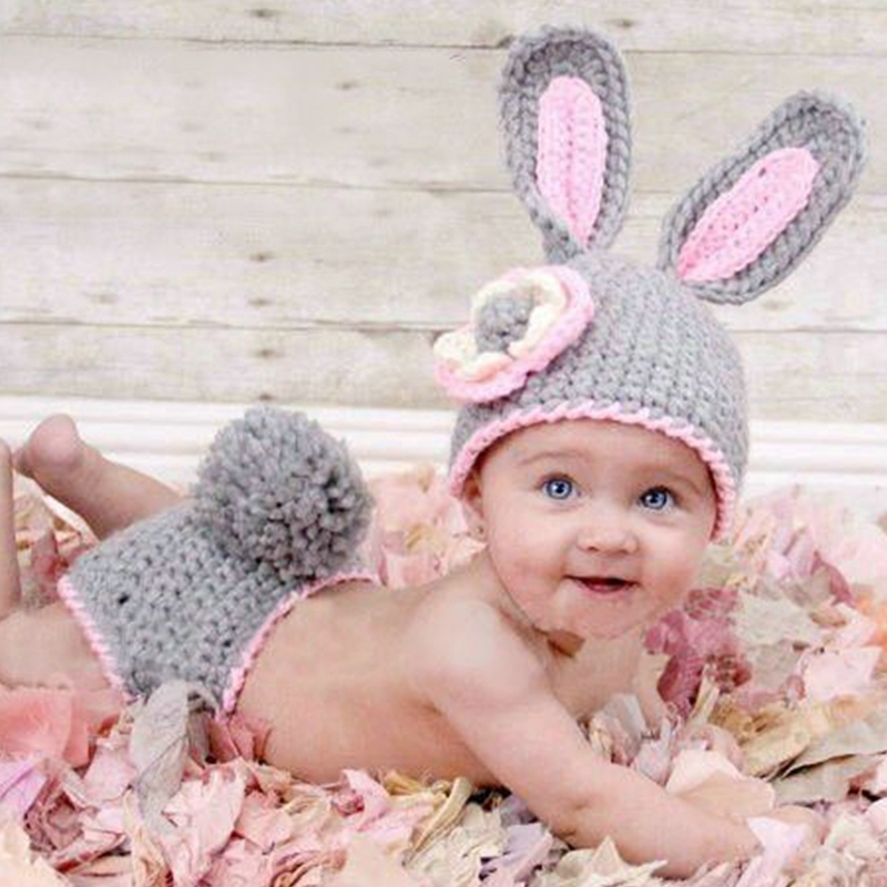 Baby Rabbit Costume Girl Flower Hat Newborn Crochet Outfits Photography Props cute newborn baby photography props outfits knit crochet hat tie pants costume set bebes roupa infantil bebek d