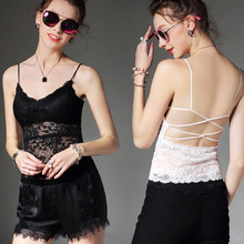 Sexy Women Lace Tank Top Vest with Pad, Cross Back Halter Sun Top, Subcoat, Elegant for Summer, Black / White