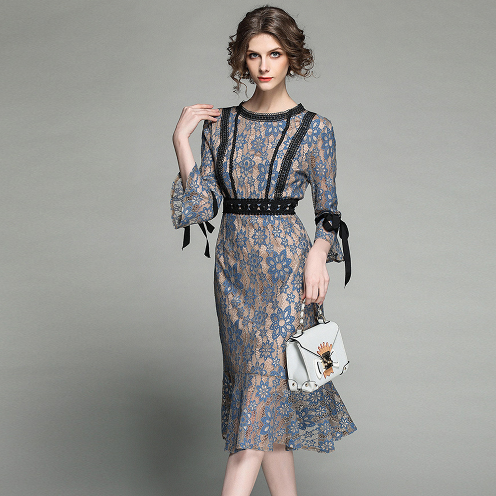 Aliexpress Com Buy Elegant Flare Sleeve Wedding Dress: Aliexpress.com : Buy Fashion Woman Spring Lace Dress Flare