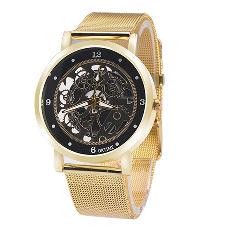 Exceptional Top Luxury Brand OKTIME Men Saat Quartz Vogue Fashion Table Hollow Out  Printing Stainless Steel Wrist