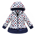 2016 New Girls Jacket Baby Girls Cartoon Cotton Padded Winter Thick Warm Coat Children Lovely Girl Dot Hooded Outerwear 2 Color