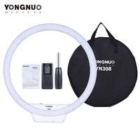 YongNuo YN308 Selfie Ring LED Light 3200K~5500K Bi Color Temperature LED Video Light Wireless Remote CRI95 w/Handle Grip