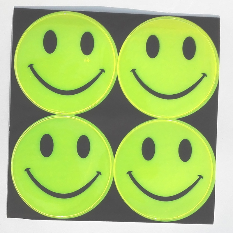 13 model, 1 sheet(4pcs), 6.50CM Reflective safety sticker smile face for motorcycle, bicycle, kids toy, any where for visible safety