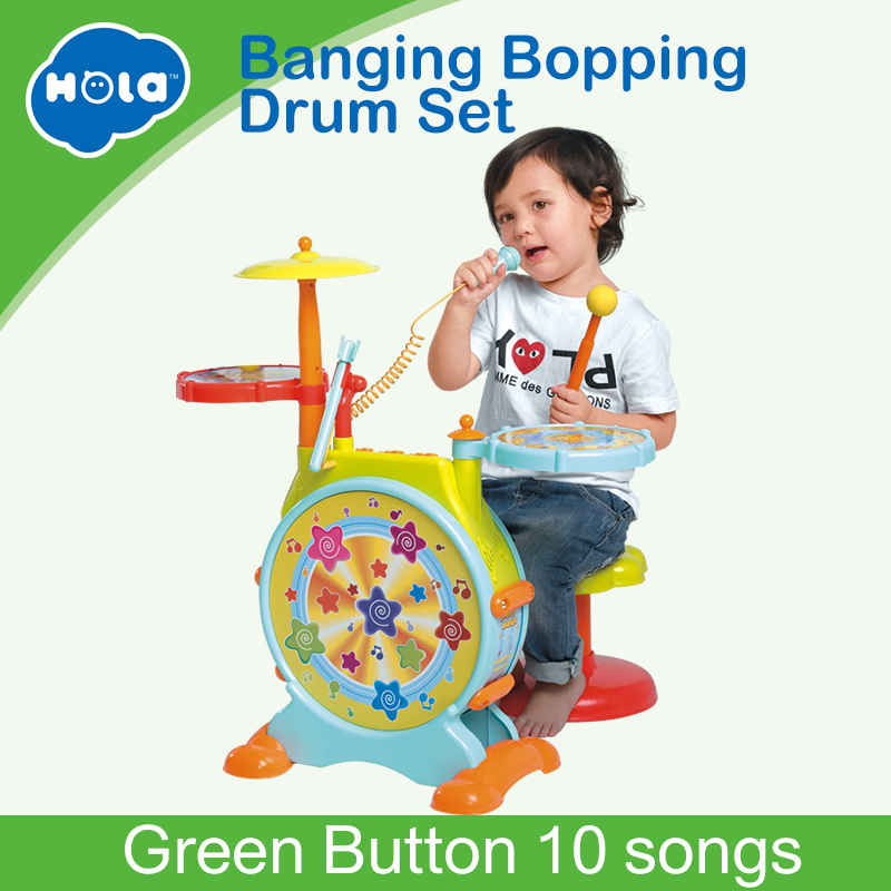 HUILE TOYS 666 Baby Toys Electronic Toy Drum with Adjustable Sing-along Microphone and Stool Electric Beats Jazz Drum SetHUILE TOYS 666 Baby Toys Electronic Toy Drum with Adjustable Sing-along Microphone and Stool Electric Beats Jazz Drum Set
