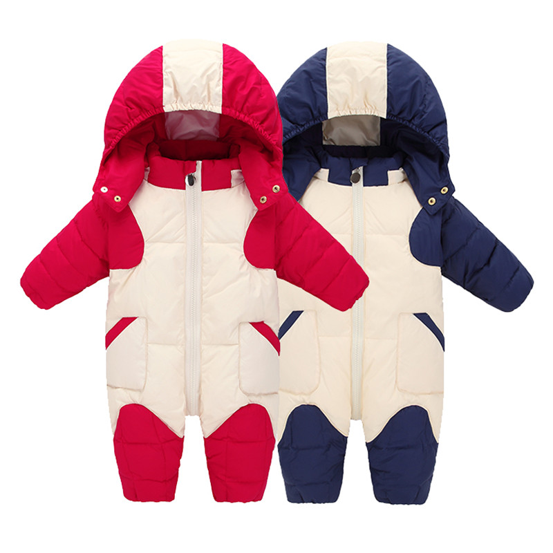 Infant Overcoat Baby Snowsuit Newborn Duck Down Cotton Jumpsuit Boys Snow Wear Overalls Girls Winter Coat Hooded Parka For Kids 2016 winter boys ski suit set children s snowsuit for baby girl snow overalls ntural fur down jackets trousers clothing sets