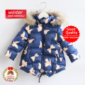 Child Girl True Fur Hooded Coat Kid girl Winter Thick Clothing Toddler Blue Full Butterfly Outwear Cardigan Jacket 2-3T