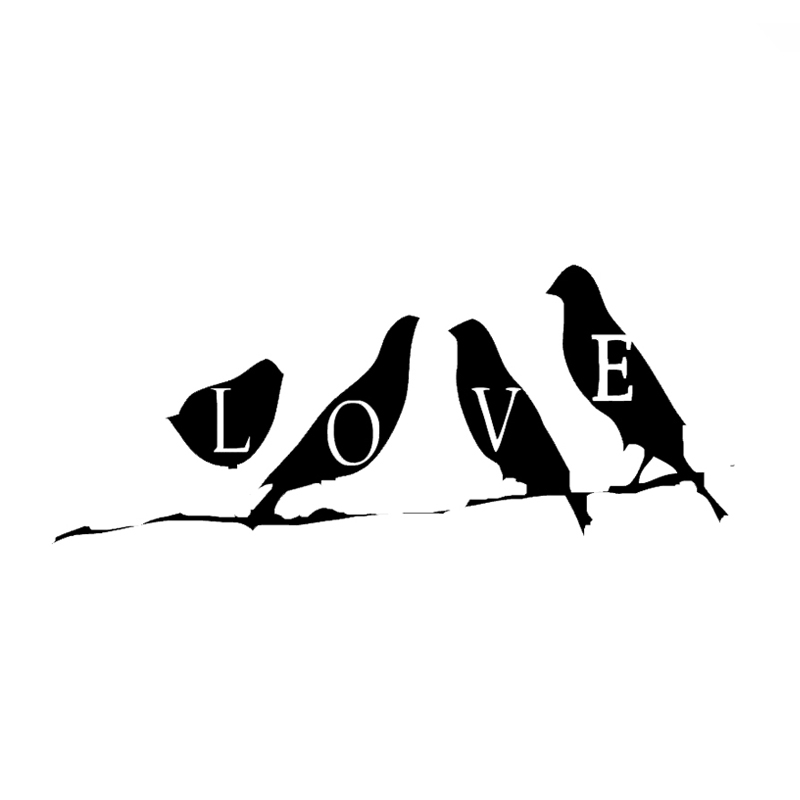 wholesale 10pcslot 20pcslot love birds on tree branch laptop vinyl decals car