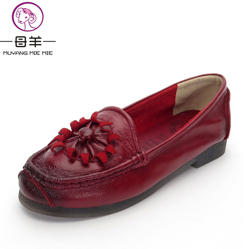 MUYANG MIE MIE Women Flats 2018 Fashion Genuine Leather Single Flat Shoes Woman Handmade Shoes Soft Outsole Casual Women Shoes muyang mie mie genuine leather women shoes woman casual flower single flat shoes soft comfortable women flats