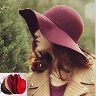 Moda disquete chapéus de feltro de lã Vintage chapéu Feminino outono inverno ondas grande borda Sunbonnet chapéu chapéu de feltro chapéu de sol Feminino