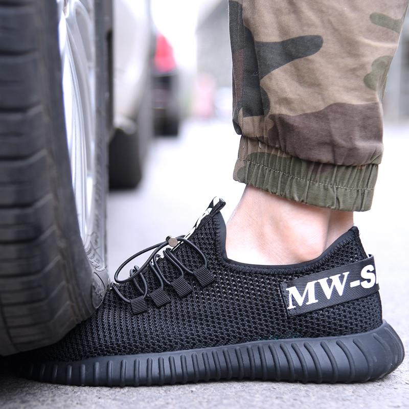 Men's Lightweight Summer Breathable Soft BottomWork Women Steel Toe Cap Puncture prevention Outdoor Anti slip Safety Shoes