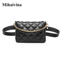 Mihaivina Women Waist Bag Fashion Female Waist Belt Chain Bags Money Fanny Pack PU Leather Waist Pack High Waist Women Pants