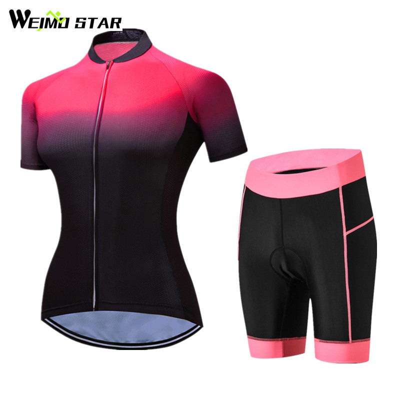 Weimostar Women Racing Sport Cycling Jersey Set Short Sleeve Cycling Bike Clothing Pro mtb Road Bicycle Jersey Set Ropa Ciclismo