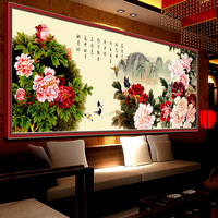 Full Diamond Embroidery Flowers Bring Wealth Diy Diamond Painting Chinese Style Decoration Craft For Home A