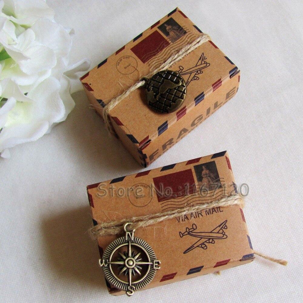 150 stks Rustieke Geïnspireerd Luchtpost Favor Box Kit Reizen Thema Vliegtuig Luchtpost Trouwbedankjes Geschenkdozen met Kompas Globe charms-in Geschenktasjes & Inpak Benodigheden van Huis & Tuin op  Groep 1