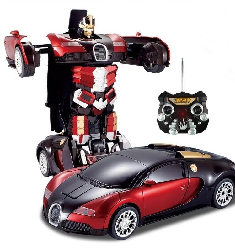 2.4G RC Remote Control Deformation Robot JIAQI T663 RC Transformation Toys one key remote control car Bugatti Electronic Robot