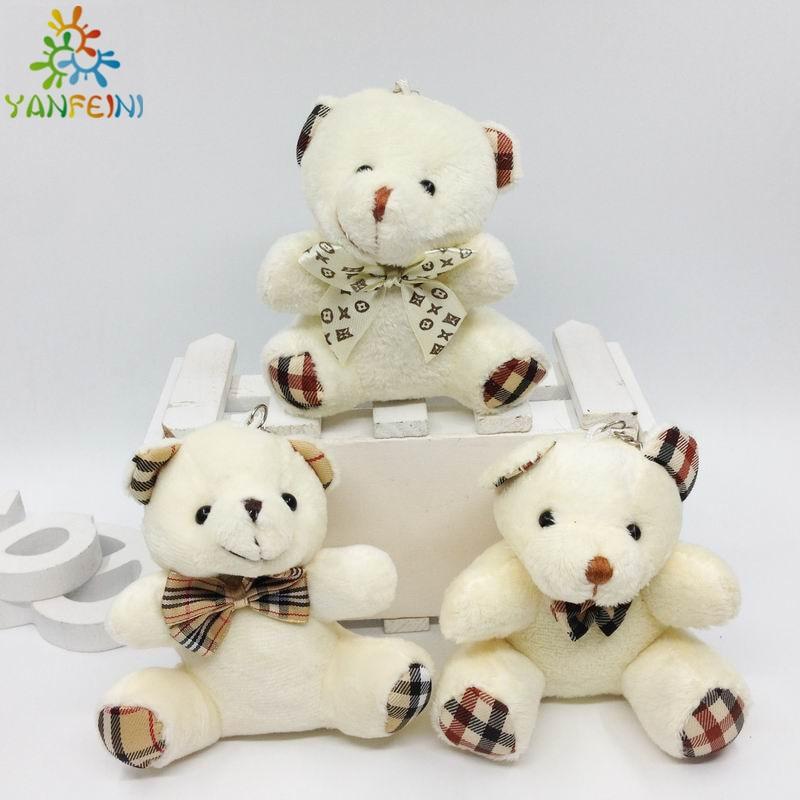 New 40pcs lot 9CM Teddy Bear Plush Toy Stuffed Animals White Khaki Brown Sitting Bears Soft