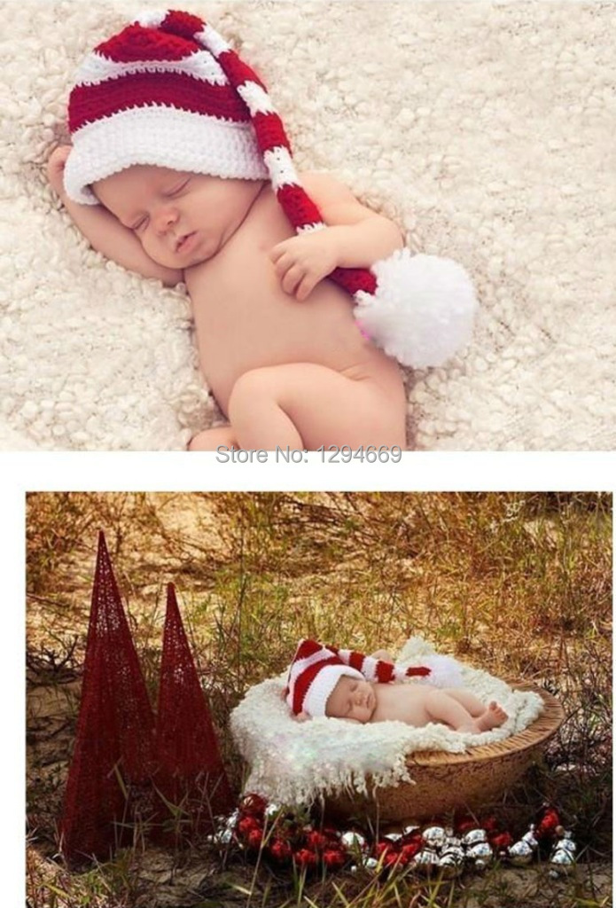 handmade 100 cotton hot infants baby girl boy crochet christmas hats newborn photo photography props outfit hats in hats caps from mother kids on