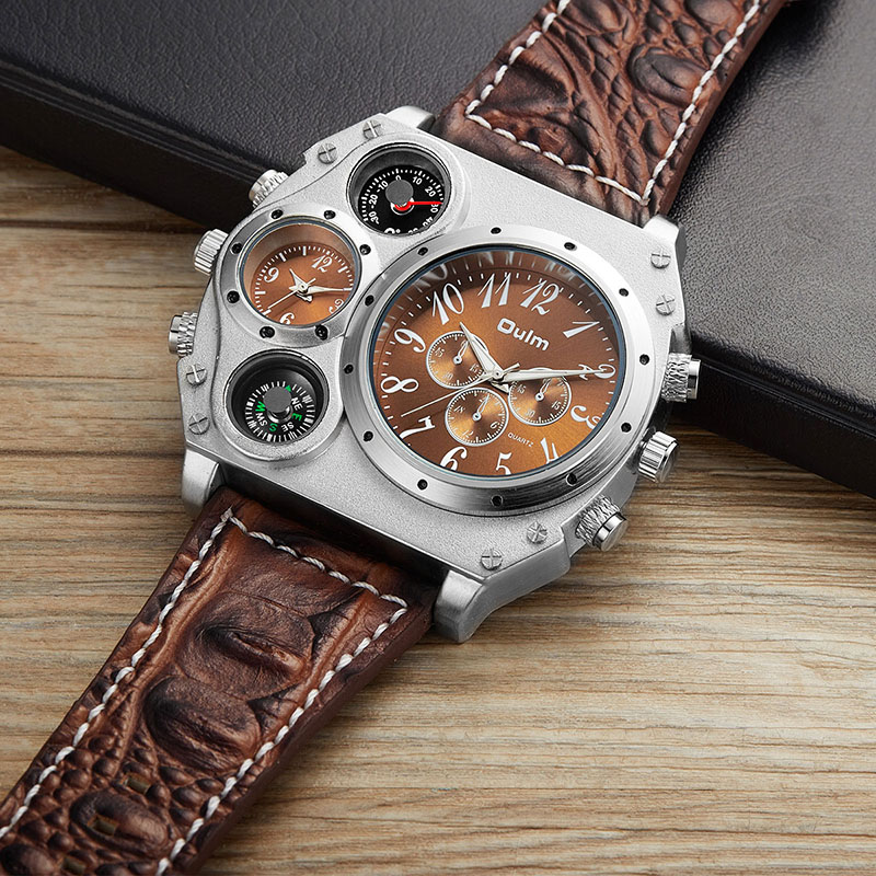 OULM Men Watches Luxury Men's Fashion Casual Dress Watch Military Army Quartz Wrist Watches With Genuine Leather Watch Strap стоимость