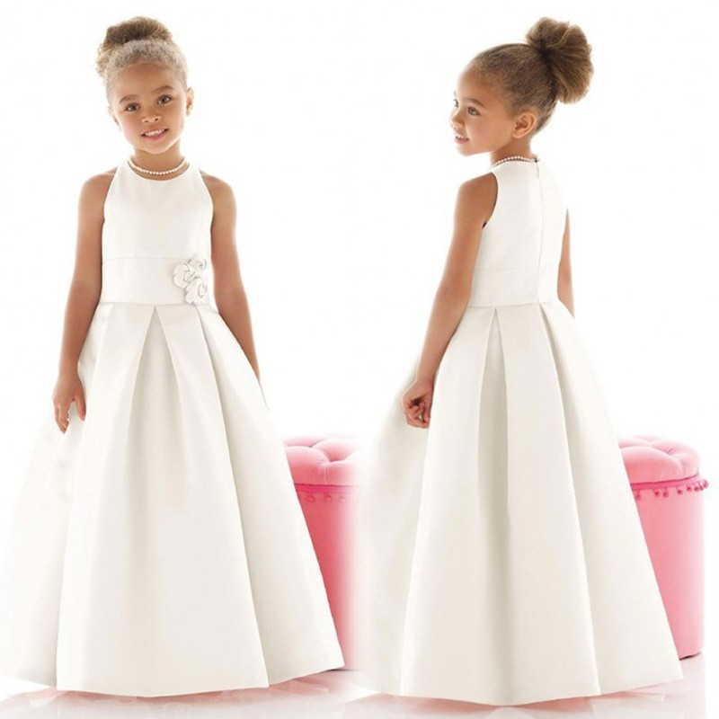 Satin robes de première Communion 2016 a-ligne robes de demoiselle d'honneur blanc sans manches-parole longueur robes de reconstitution historique pour les petites filles