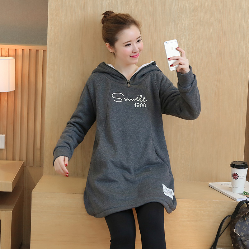 ФОТО Plus Velvet Maternity Hoodie Sweatshirt Fleece Tops Pullover Clothing Clothes for Pregnant Women Autumn Winter Outerwear B398