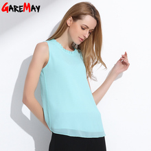 GAREMAY Shirt Women Summer Chiffon Tops White Sleeveless Blouses For Women Clothes Ruffle Elegant Vintage Feminine Shirts T098