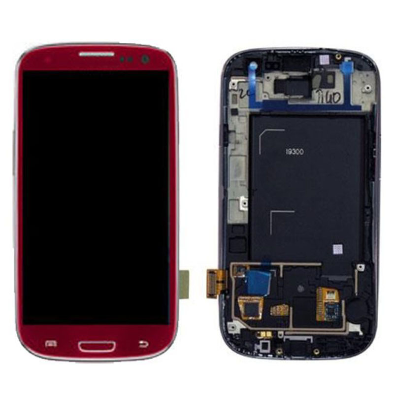 LCD Display Touch Screen Digitizer With Frame Bezel Assembly For Samsung Galaxy S3 III i9300 Red