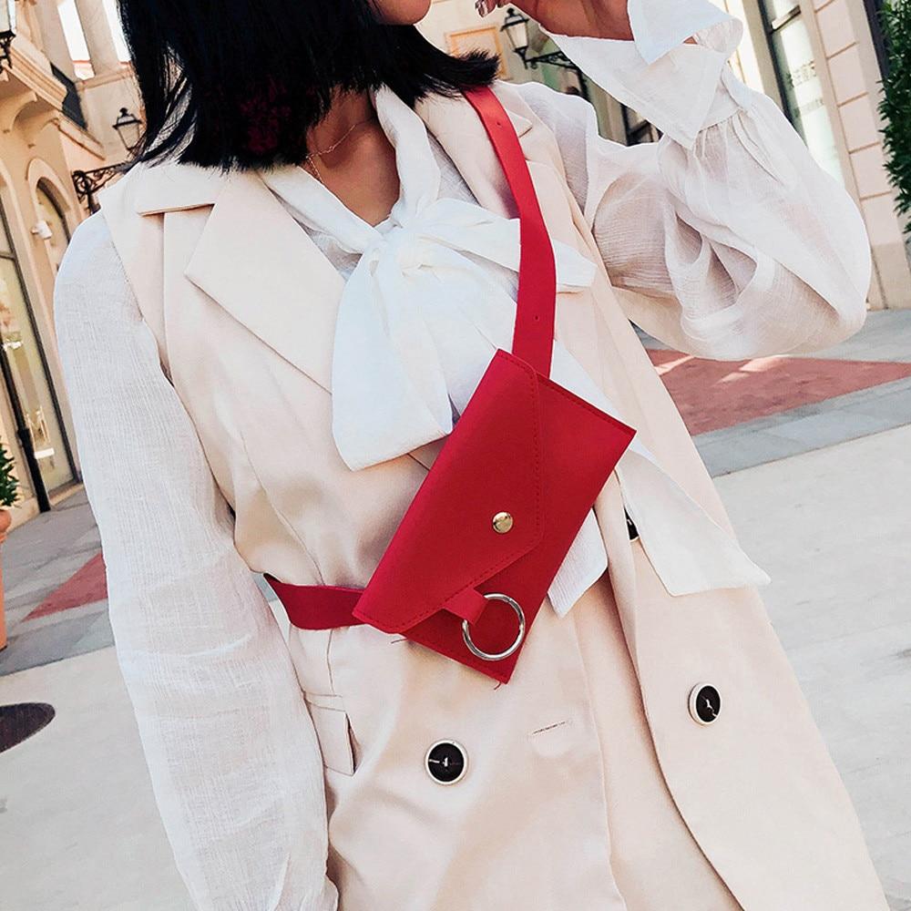 2018 Fashion Women Pure Color Ring Leather Waist Bag Casual Messenger Shoulder Bag Chest Bag Multi-function Pockets Drop Ship