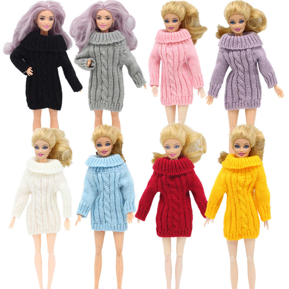 1 pcs 패션 인형 코트 순수 수동 의류 니트 수제 스웨터 탑 드레스 바비 인형 액세서리 선물 인형 완구
