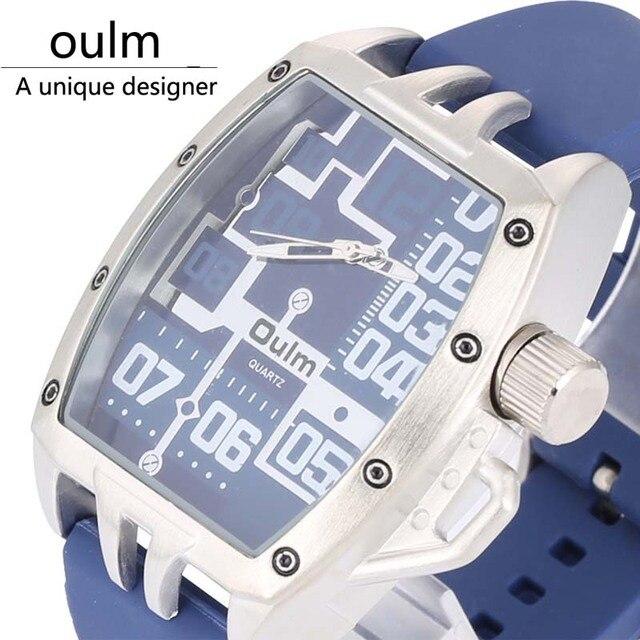 Oulm 3286 Men Big dial Sports Military Quartz Watches Men Rubber Band Wristwatches Relogio Masculino